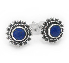 """Sterling Silver Round Stone Inlay """"Elle"""" Everyday Stud Post Earrings, Lapis Lazuli"""