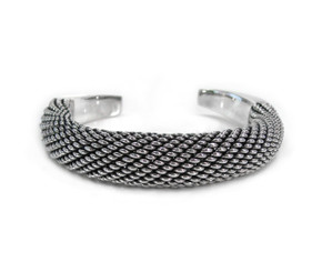 Sterling Silver Woven Rounded Dome Cuff Bracelet