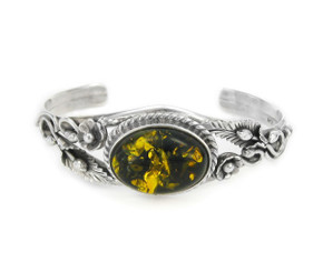 Green Baltic Amber Sterling Silver Flowers Leaves Vine Cuff Bracelet