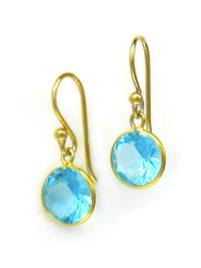 Gold Plated Sterling Silver Sparkling Round Crystal Drop Earrings, Aqua
