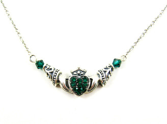 Claddagh Irish Sterling Silver Friendship Necklace, Green