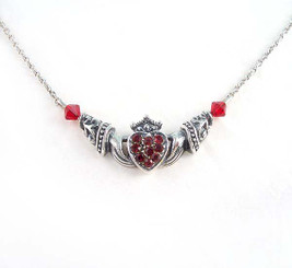 Claddagh Irish Sterling Silver Friendship Necklace, Red