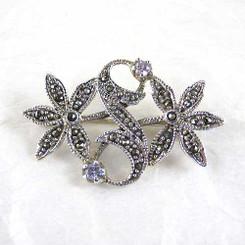 Vintage Sterling Silver Marcasite & Crystal Flowers Brooch