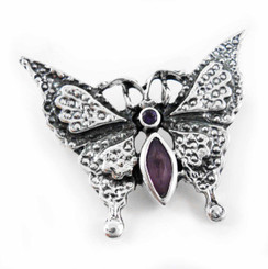 Sterling Silver Crystal Butterfly Pin, Purple