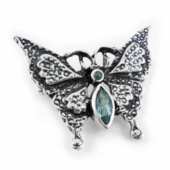 Sterling Silver Crystal Butterfly Pin, Aqua