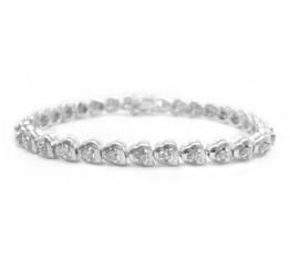 Sterling Silver Crystal Nestling Hearts Link Tennis Bracelet, Clear
