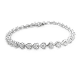 Sterling Silver Crystal Hearts Link Tennis Bracelet, Clear