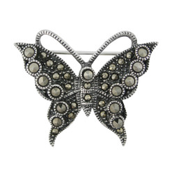 Marcasite Sterling Silver Butterfly Pin