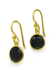 Gold Plated Sterling Silver Sparkling Round Crystal Drop Earrings, Black