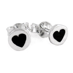 Sterling Silver Black Enamelled Heart Circle Post Earrings