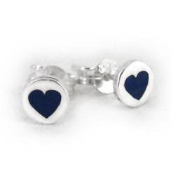 Sterling Silver Navy Enamelled Heart Circle Post Earrings