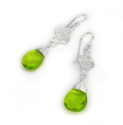 Sterling Silver Filigree Clover Crystal Briolette Drop Wire-wrapped Top Earrings, Green