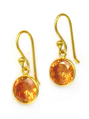 Gold Plated Sterling Silver Sparkling Round Crystal Drop Earrings, Champagne