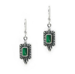 """Sterling Silver and Stone Inlay """"Jorgette"""" Drop Earrings, Malachite"""