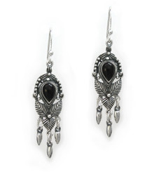 "Sterling Silver ""Jordana"" Crystal and Drops Earrings, Black"