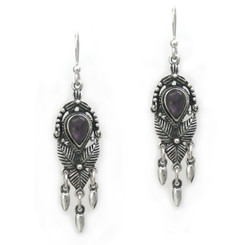 "Sterling Silver ""Jordana"" Crystal and Drops Earrings, Purple"