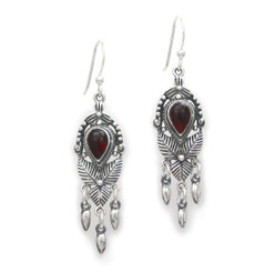 """Sterling Silver """"Jordana"""" Crystal and Drops Earrings, Red"""