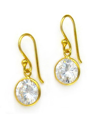 Gold Plated Sterling Silver Sparkling Round Cubic Zirconia Drop Earrings, Clear