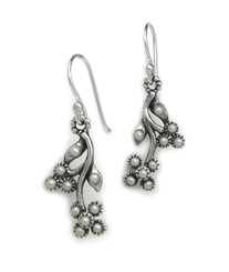 Sterling Silver Flowers Synthetic Pearls Beads Earrings