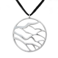 "Sterling Silver ""Branches"" Medallion on Ultra Fiber Suede Cord, 16"""