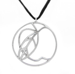 Sterling Silver Apple Medallion on Ultra Fiber Suede Cord, 16""