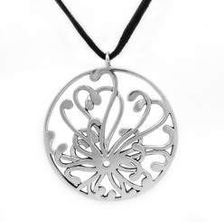 Sterling Silver Chrysanthemum Bloom Pendant on Ultra Fiber Suede Cord, 16""
