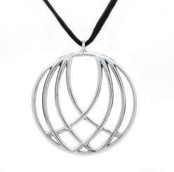 "Sterling Silver ""Wings"" Medallion on Ultra Fiber Suede Cord, 16"""
