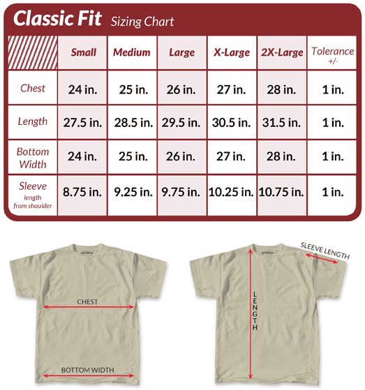 Compare your measurements with this classic fit size chart