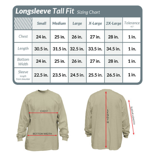Get your perfect long sleeve t-shirt in the perfect fit. Check the guides before you buy