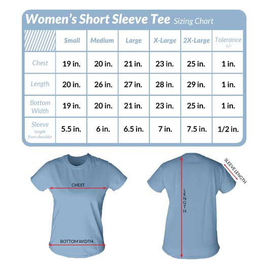 Check out the size charts for womens short sleeve tees