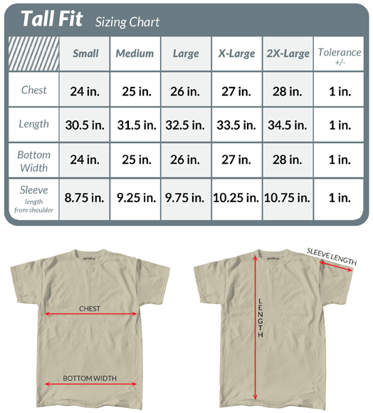 Save time and money avoiding returns and exchanges. Compare your measurements with this tall fit size chart