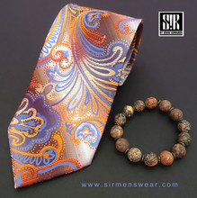 Orange and Blue paisley with Rust highlights