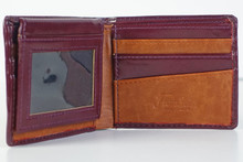 Florsheim burgundy w/tan pass case wallet