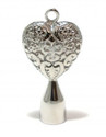 Solid Filigree Heart Drum Key, Stainless Steel