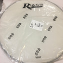 "Rogers Logo Resonant Bass Drum Head 22"" Coated White w/Large Logo - RBH22A-LOGO"