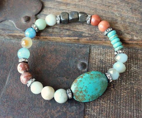 Mixed Gemstone Turquoise Stretch Bracelet