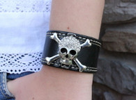 Rhinestone Skull Leather Cuff