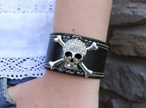 Rhinestone Skull Leather Cuff