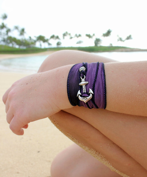 Anchor - Silk Ribbon Wrap Bracelet, by Ever Designs Jewelry