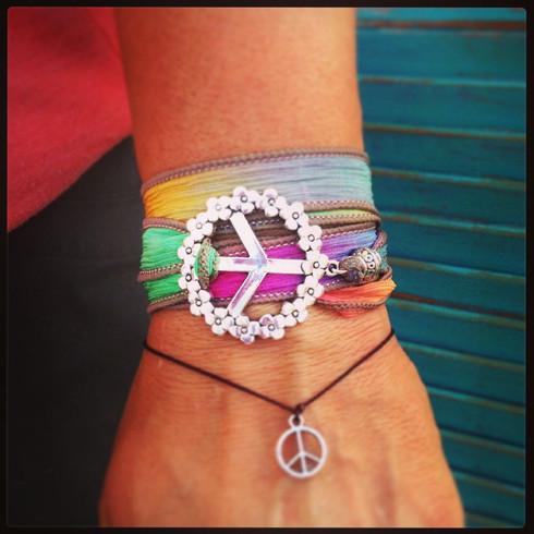 Peace Sign Ribbon Wrap Bracelet