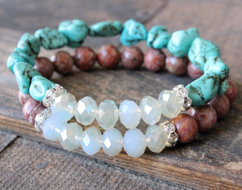 Turquoise Nugget Stretch Bracelet