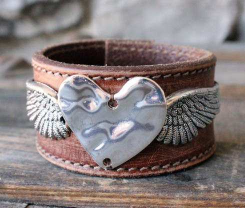 Angel Heart and Wing Leather Cuff - Upcycled from a vintage leather belt - by Ever Designs Jewelry