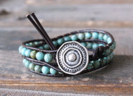 Turquoise Boho Leather Wrap Bracelet
