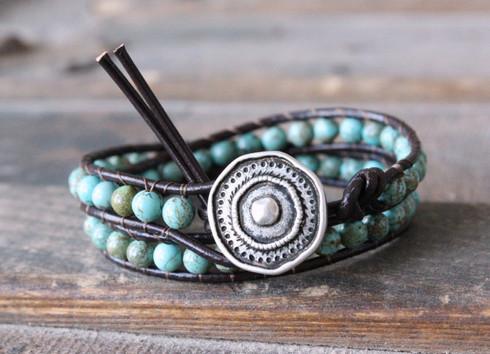 Turquoise Boho Leather Wrap Bracelet