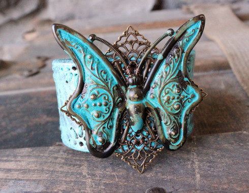 Turquoise Butterfly Leather Cuff