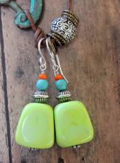Yellow Turquoise Gypsy Earrings
