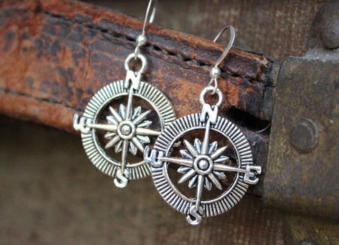 Compass Earrings Sterling Silver