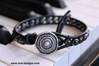 Hematite Boho Leather Wrap Bracelet