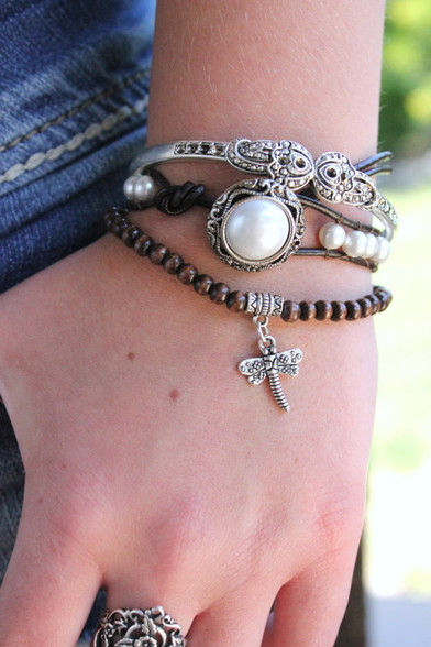 White Pearl Leather Wrap Bracelet