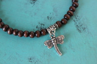 Dragonfly Stretch Bracelet Wood Beads
